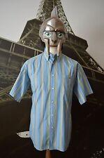 Lacoste Men's Blue&Multi Striped Short Sleeved Shirt Size 42 (Large)Devanlay