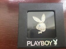 Playboy Bunny Swarovski Crystals Adjustable Ring Silver Plated with  + Acc Bag