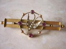 VICTORIAN GOLD  RUBY & PEARL SWALLOW BROOCH PIN ANTIQUE SENTIMENTAL JEWELLERY