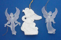Christmas angel ornaments white bisque Midwest of Cannon Falls & frosted acrylic