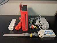 Nintendo Wii Red RVL-001 Console w/Cords Controller Nunchuck HDMI TESTED!