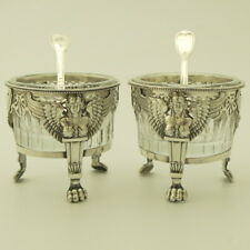 EMPIRE Era 18C Antique French Sterling Silver Open Salt Cellars Pair w/Spoon 950