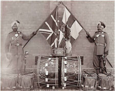 British Army 52nd Sikh Indian Regiment Soldiers Flags Drums 1905 6x5 Repro Photo