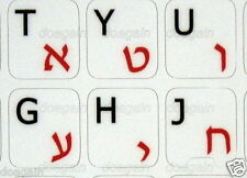 Best Quality RED HEBREW / Black English NON TRANSPARENT WHITE Keyboard Stickers
