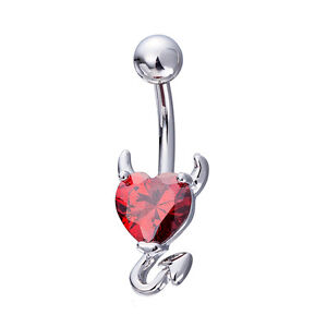 White Gold F Navel Belly Button Ring Heart Womens Devil Body Piercing Jewelry
