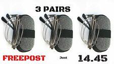 Z006 3 X Pares Plata Plegable Lectura Estuche Gafas ,Paño Con 8 Lente Variations