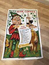 Vintage Irish Coffee Linen Tea Towel. New!