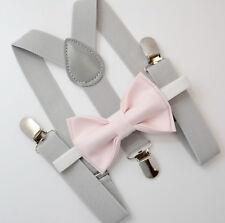 Kids Boys Mens Light Gray Suspenders & PALE Pink Bow tie Infant - ADULT SET