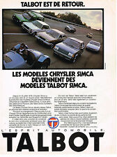 PUBLICITE ADVERTISING 025  1979  SIMCA  TALBOT   la gamme