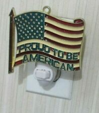 PROUD TO BE AMERICAN FLAG NIGHTLIGHT WITH GOLD BORDER (PATRIOTIC JULY 4TH US)
