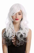 Ladies' Wig Diva Long White+Black Long Wavy Layered Parting