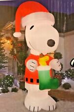 NEW 10 FT TALL GEMMY CHRISTMAS PEANUTS SNOOPY WOODSTOCK STOCKING INFLATABLE