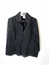 NARA CAMICIE VERTICAL STRIPED MEN'S BLACK SHIRT SIZE SMALL MADE IN ITALY