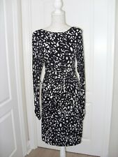 Ghost Black & White Bodycon Stretch Dress. Side Twist & Ruched Cuffs. S 16