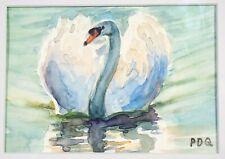 Artist PDQ Original Painting Wildlife Waterbird Swan Watercolor Mat Art Realism