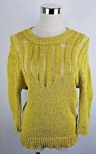 Skin + Threads Light Yellow Green Jumper Knit Size 1 (Small) Linen/Cotton