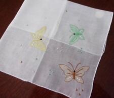 Vintage Madeira Embroidered Applique Pastel Butterflies Hankie Unused w Tag