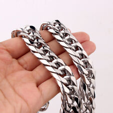 Jewelry Silver Stainless Steel 16mm Necklace Heavy Mens Boys Curb Cuban Chain