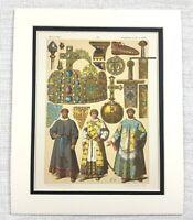 1895 Antico Stampa Etnico Tedesco Mezzo Età Dorato Corona Royal Orb Gioielli Art
