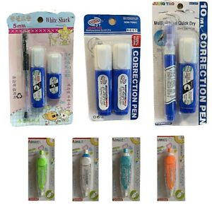 Correction Pen White Liquid Paper Fine Pin Metal Point Tape Quick Dry 5mm 10ML