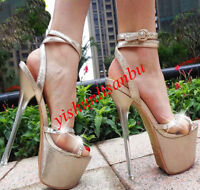 Womens Gold Platform Open Toe Sexy Sandals Super High Heels Ankle Strap Shoes