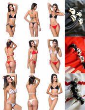 Side Tie Patternless Petite Swimwear Bikini Sets for Women
