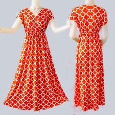 ORANGE GEOMETRIC POP ART PRINT VTG. 70s MAXI DRESS w  EMPIRE WAIST SZ L