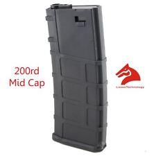 AIRSOFT M4 M16 SCAR PLASTIC BLACK LONEX P MAGAZINE 200 RDS ASG MID CAP