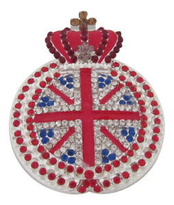 Silver Plated Royal British Flag Crown Brooch Union Jack Brooch Red Blue Crown