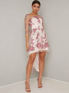 Chi Chi London Floral Midi  Sleeves Embroidery  Dip Hem Dress 14 Pink/Multi