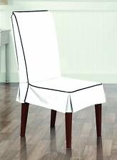 NEW Sure Fit Monaco - Shorty Dining Room Chair Slipcover  - White/Midnight