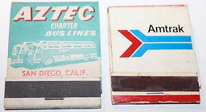 Aztec + Amtrak Matchbook Cover Charter Bus Train San Diego Disneyland Advertisin