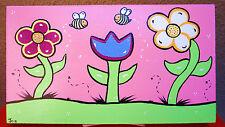 Children's Art, Nursery Decor, Flowers,Bees,Girls Art,Bumble Bees,painting,art