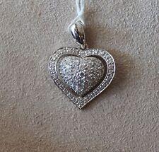 14 kt. White Gold & Pave Diamond Heart Pendant