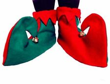 Red & Green Elf or Jester Boots / Shoes with Bells Attached - Fancy Dress - New