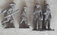 """Lot of 4 Vintage 1940s Lead Toy Soldiers 2 1/2"""" Tall"""