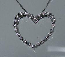 Memoire 18K White Gold WG  Diamond Heart Pendant Necklace Chain NWT $1500