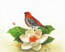 Original Oil Bird Portrait Painting Artwork Pine Grosbeak White Lily Flower