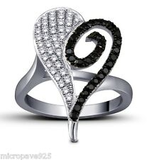 Black And White Cubic Zirconia Stones With Pave Setting Sterling Silver 925