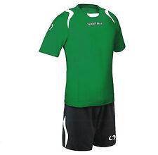 10  COMPLETI CALCIO CALCETTO Man. corta  set Lione Sportika col 187 Verde/Nero