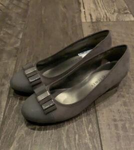 Karen Scott New Pumps Heels Faux Suede Gray Bow 8.5 M