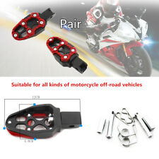 1 Pair Aluminum Alloy Motorcycle Scooter Pedal Non-slip FootPegs Red Belt Spring