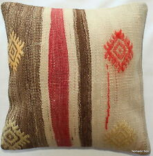 (35*35CM, 14 INCH) Handmade Boho pillow cover natural dyes cream red brown