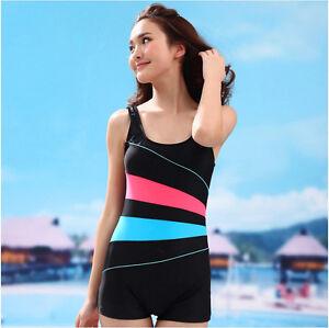 Womens Girl Boyleg Legsuit Ladies Swimming Costume Swim Suit Beachwear SMB04