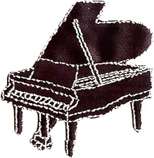 PIANO black grand EMBROIDERED IRON-ON PATCH Free Shipping concert pianist music