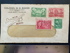 US 1940s, Colonel WE Baker, Air Force,  postal history Cover, various stamps