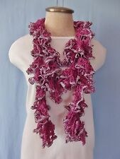 """New Hand Crochet Silver Sparkle Violet Purple Twisted Ruffled Scarf 68"""" Long"""