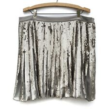 Banana Republic Womens Gray Silver Sequin Sparkle Pleated Mini Skirt 14 NEW
