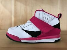 JORDAN FLIGHT 45 HIGH WHITE BLACK VIVID PINK GIRLS BABY TD SZ 4-10  837025-158