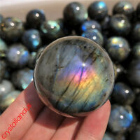 1pc Natural rainbow labradorite sphere 45mm+ quartz crystal ball gem healing